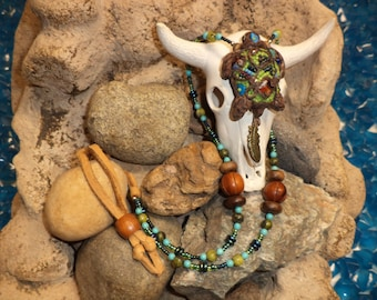 Ready to Ship - SALE - Beaded Turtle Necklace (Tortuga) with Leather Trim
