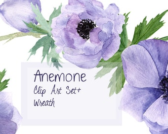 Purple Anemone Watercolor Clip Art Set + Wreath
