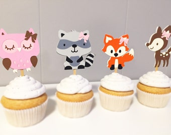 Girly Woodland Party Cupcake Toppers - Woodland Party, Woodland Birthday, Babyshower, Fox
