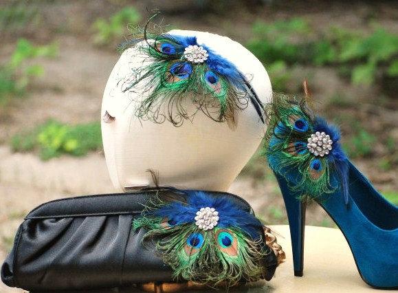 Shoe Clips Peacock Fan. Spring Couture Bride Bridal Bridesmaid, Feminine Girl Gossip Girl Feminine Gift, Rhinestone Crystal, Rockabilly StateHommes t Fabulous 46730d