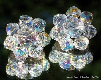 AB Crystal Earrings Vintage Jewelry Estate Wedding Bling Sparkle Glam Mid Century Marilyn Monroe Clips Aurora Borealis VLV Art Deco Mad Men