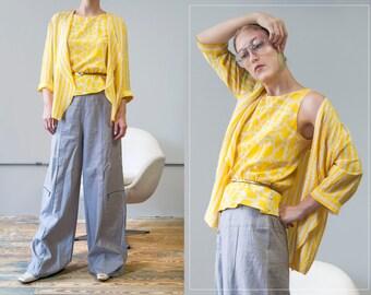 90s SILKS by St. Gillian yellow and white giraffe sleeveless peplum top and striped jacket set | SIZE SMALL