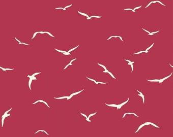 Sea Flight - Plum - Summer '62 - Jay Cyn for Birch Fabrics -  Organic Poplin Cotton Fabric - Pond - Fabric By the Half Yard