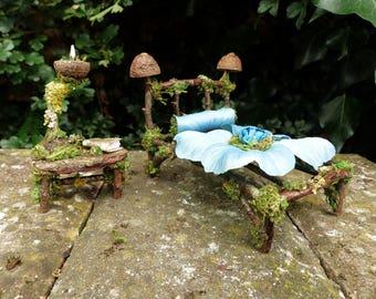 Fairy Bed, Bedside Table, Lamp & Bedding - Faerie, Dollhouse Miniatures, Fairy Furniture, Fairy Garden, Fairy Accessories, Fairy House, Fae