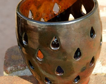 Rainy Day Raku Luminary  - hand thrown, stoneware pottery, candle holder, luminary
