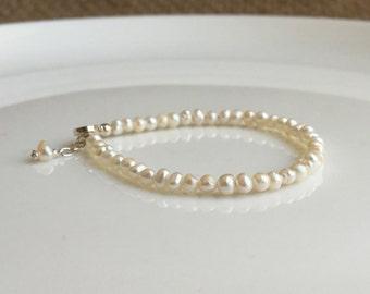 Perle Baby Armband Sterling Silber natürlichen Süßwasser-Perlen