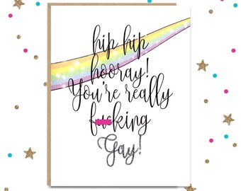 Gay Greeting Card, Card for Her, Card for Him, Funny Greeting Card, Coming Out, LGBTQ Support Card, Gay Wedding Card, Coming Out Party