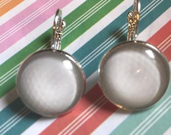Golf ball glass cabochon earrings - 16mm
