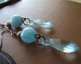 Vintage Blue Bead and Faceted Leaf Earrings
