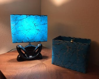 Mid Century Style  Fiberglass Lamp Shade Retro Modern Rectangular Teal