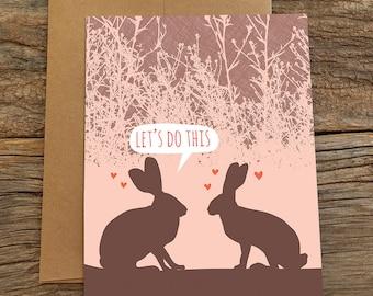 funny anniversary card / rabbits do this