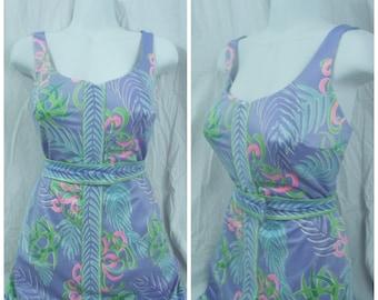 60s Plus Swimsuit Skirted Roxanne Bullet Bra Tropical Belted Bathing Suit Sz XL