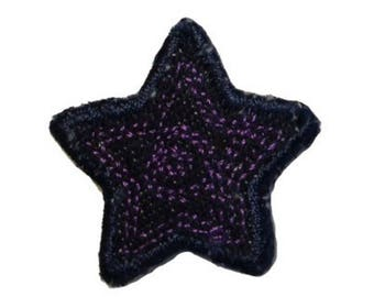 ID 3430F Blue Jean Stitched Star Patch Badge Craft Embroidered Iron On Applique