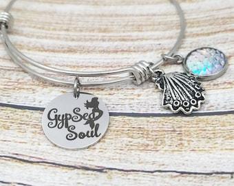 GypSea Soul Customizable Expandable Bangle Charm Bracelet, beach jewelry, starfish, seashell, summertime, vacation jewelry