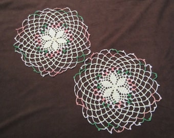 Doily Pair Doilies with White Pink and Green Round Vintage Doilies