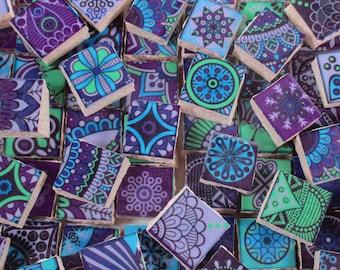 Ceramic Mosaic Tiles - Medallions Moroccan Tile Mosaic Purple Green Blue Tile Pieces - 90 Pieces /Mosaic Art / Mixed Media Art/Jewelry