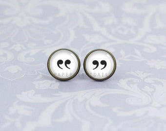 Quotation Mark Earrings - Punctuation Jewelry - Quotation Marks - Book Lover Earrings -  Book Gifts -  (H4005)