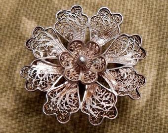 Filigree Flower Brooch Silver Tone or Silver?