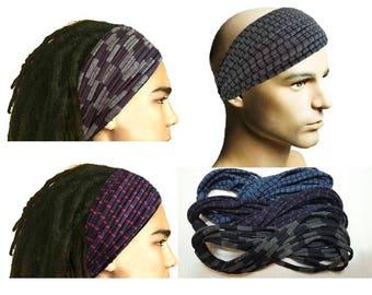 Dreadlocks Headband for Men Dreadlock Hair Wrap Tube Mens Headband Dreadlock Accessory Wide Head Wrap Men Headband with stripes  Head scarf