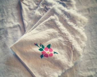 Linen table napkins, pink floral cotton, picnic place setting, vintage table cloths, Hand painted, stenciled, set of four
