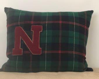 Vintage Letterman Patch Pillow