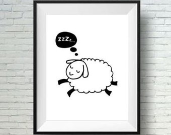 Sleepy Sheep Lamb Baby room decor Printable Nursery Art Kids room wall decor INSTANT Digital print download