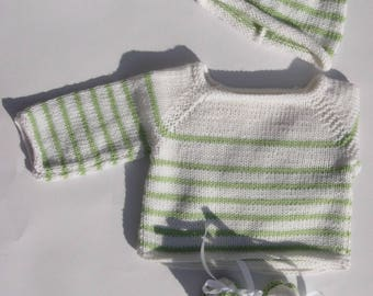 """My first sailor"" top White with green stripes and his hat in Merino 0/1 month"
