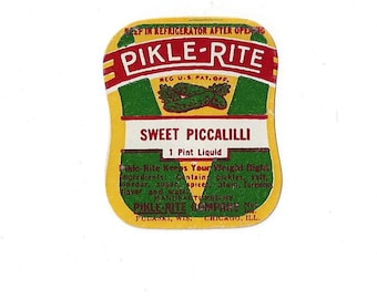 Vintage Pikle-Rite Sweet Piccalilli Label, 1950s