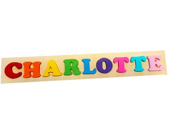 Solid Wood Custom Name Puzzle - 9 letter Solid Wood Toddler Name Puzzle - Toddler Name Puzzle