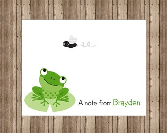 PERSONALIZED NOTECARDS for BOYS /  Frog Notecards Boxed / Green Frog Stationery / Set of 10 / Frog Boys Party Thank You Cards