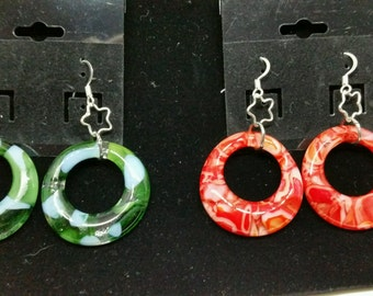 Fused Glass Hoop Earrings