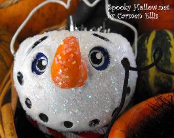 Christmas Spooky Cute Snowman bucket JOL ornament