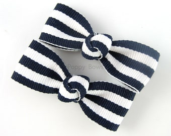 Navy Blue Hair Clips - Taffy Striped 2 Inch Barrettes for Baby Toddler Girls - Navy and White Nautical Pair AP