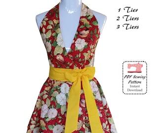 50's Retro Apron PDF Sewing Pattern & Tutorial, Tiers Apron, Vintage Apron