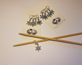 Knitting stitch markers, set of 4, SNOWFLAKES