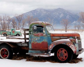 Two Old Rusty Winter Vintage Taos Trucks Turquoise n Rust Chevy - Lime Green Dodge Pickup - Taos Mountain wintertime - 8x12 Fine Art Giclee