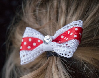Hair Bow - Valentines Ribbon Lace and Red Ribbon Hairbow