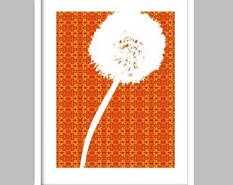 Dandelion Silhouette on Orange Damask Background - Fine art print, dandelion art, dandelion on orange damask design