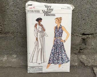 70's Vogue 7108 Very Easy Pattern Misses' Dress // Size C 10-12