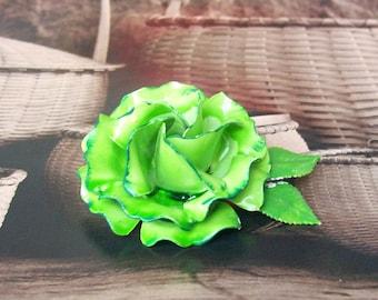 """Lime Green ROSE BROOCH Chartreuse Enamel Flower Pin Large 2 1/2"""" Vintage"""