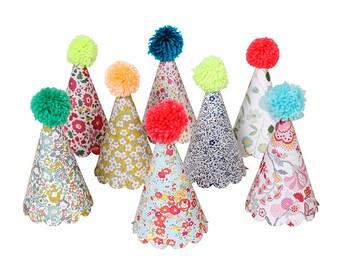 Liberty Party Hats with Pom Poms (8), Meri Meri Birthday Party Hats, Girl Birthday Hat, Assorted Floral Party Hats, Shabby Chic Party Decor