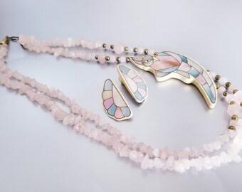 Lee Sands Hawaiian Necklace Set Fish Shell Rose Quartz Mother of Pearl