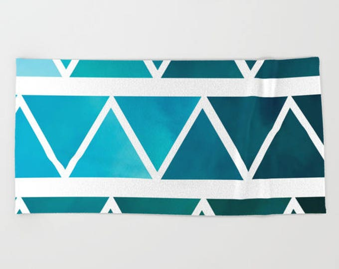 Blue Modern Bath Towel - Blue Ombre - Triangles  - Microfiber - Cotton Terry Cloth - Made to Order