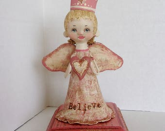 Believe In Love folk art angel doll
