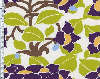 Purple/Lime Floral Nouveau Decor Cotton Twill, Fabric By The Yard