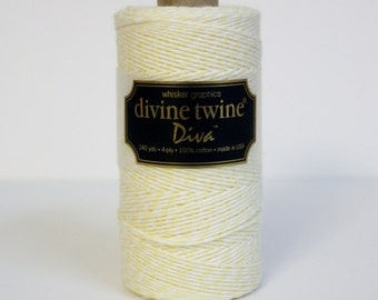 SALE 20% OFF - Lemonwood: Pale Yellow & White DIVA Collection Divine Twine 240 Yards Spool of Bakers Twine by Whisker Graphics