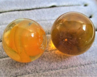 """Two Amber Marbles Vintage Shooter Marbles Collector Large Art Glass Marbles 7/8"""" Topaz Orange Glass Cat's Eye Collector Children's Game"""
