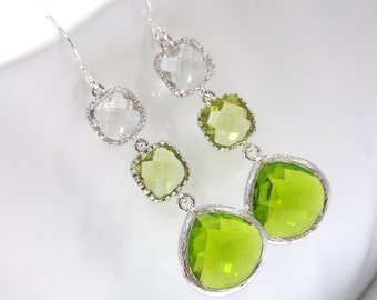 Green Earrings, Apple Green Mint Light Green, Glass Clear, Silver, Bridesmaid Jewelry, Bridesmaid Earrings, Bridal Jewelry, Bridesmaid Gift