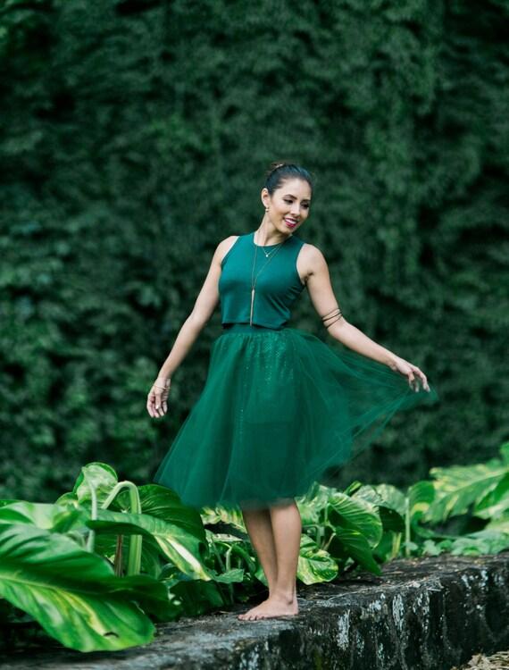 Tessa Hunter Green Sparkle Tutu Skirt