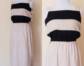 1980s classic black and tan colorblock dress